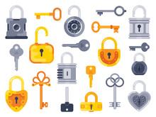 Lock With Keys. Golden Key, Access Padlock And Closed Safe Padlocks Isolated Flat Vector Set