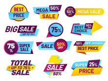 Sale Tags. Retail Sales Stickers, Promotion Price Label And Store Pricing Banner Sticker Isolated Vector Set