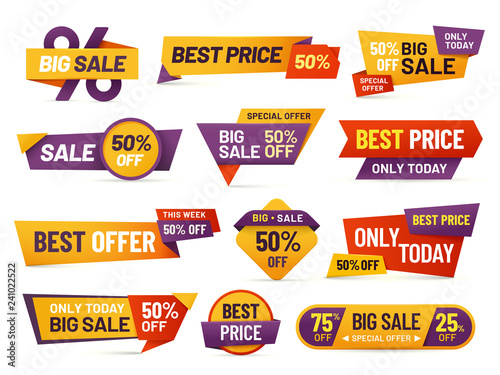 Fototapeta Retail sale tags. Cheap price flyer, best offer price and big sale pricing tag badge design isolated vector collection obraz