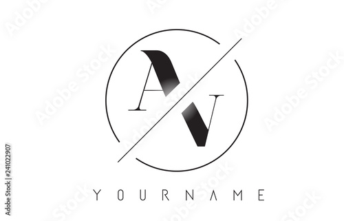 Fotografia, Obraz  AV Letter Logo with Cutted and Intersected Design