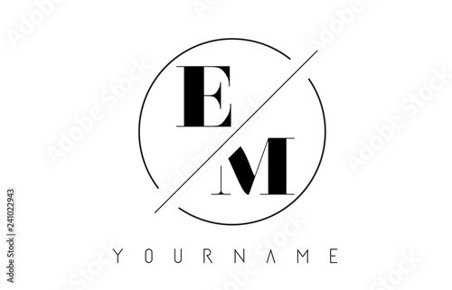 Photo  EM Letter Logo with Cutted and Intersected Design