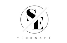 SE Letter Logo With Cutted And Intersected Design