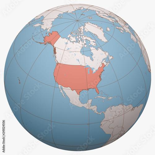 United States (US, USA) on the globe. Earth hemisphere ...