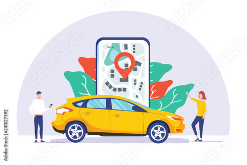 Fototapeta Online car sharing vector illustration concept, mobile city transportation with cartoon character and use smartphone obraz