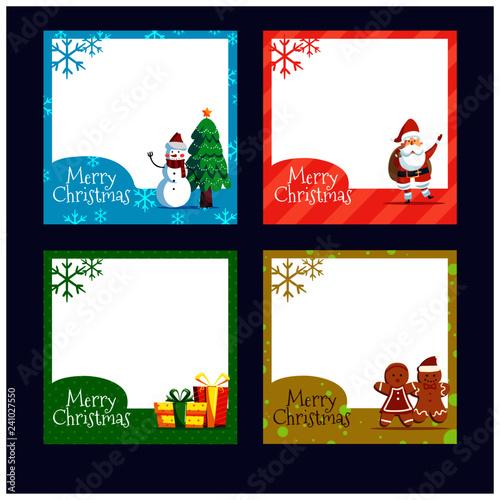 Fotografia  Flat Christmas Santa Claus and Snowman holding white greeting card