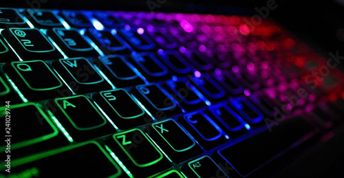 Backlight gaming keyboard with versatile color schemes Fototapet