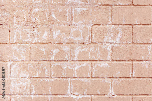 painted pink brick wall with salty spots and streaks pale pastel pink peach trendy color brick wall grunge style urban design wallpaper background buy this stock photo and explore similar images painted pink brick wall with salty