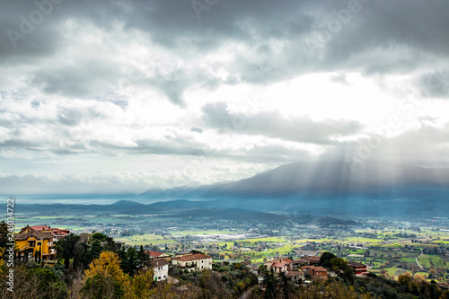 Fotografie, Obraz  Beautiful view of the Valle del Sacco at sunset, from Anagni, Frosinone, Italy
