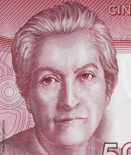 Papel de parede  Gabriela Mistral portrait on Chile 5000 peso banknote close up