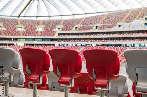 Fototapeta Krzesełka na stadionie piłkarskim, Warszawa, Polska obraz