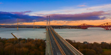 Three Bridges, Forth Railway Bridge, Forth Road Bridge And Queensferry Crossing, Over Firth Of Forth Near Queensferry In Scotland