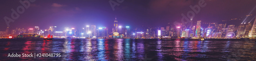 Foto op Aluminium Aziatische Plekken Hong Kong panorama skyline from Tsim Sha Tsui waterfront of Kowloon district with the most famous buildings of Hong Kong.