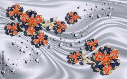 Fotografía  3D wallpaper, jewelry flowers on gray silk background