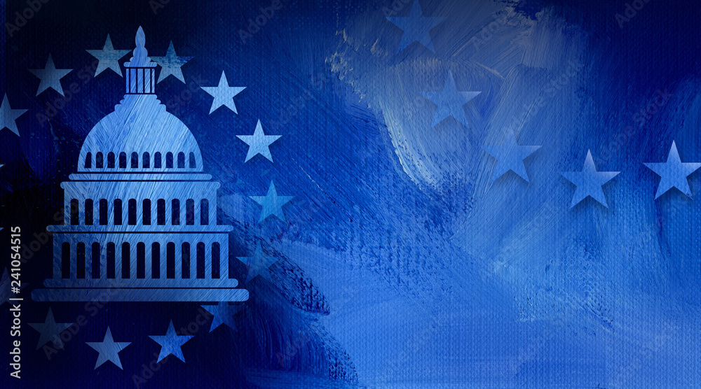 Fototapety, obrazy: Government Capitol building with ring of stars graphic abstract background