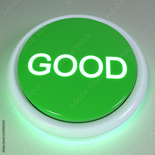 """Fotografie, Obraz  Green button """"GOOD"""" displayed on button, positive action concept, immediate acti"""
