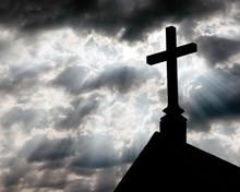 Holy Cross On Blue Sky Background