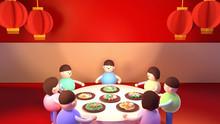 Happy Asian Family Eating Chin...