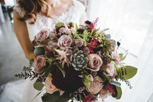 Bridal Bouquet With Succulents Roses Astilbe