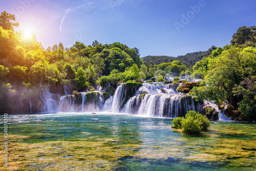 Wall Murals Forest river Beautiful Skradinski Buk Waterfall In Krka National Park, Dalmatia, Croatia, Europe. The magical waterfalls of Krka National Park, Split. An incredible place to visit near Split, Croatia.