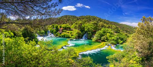 fototapeta na lodówkę Waterfalls Krka, National Park, Dalmatia, Croatia. View of Krka National Park, Roski Slap location, Croatia, Europe. Beautiful world of Mediterranean countries. Traveling concept background.