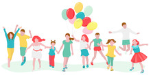 A Large Group (crowd) Of Children With Balloons, Boys And Girls, Run, Jump And Play. Vector Illustration In Flat Minimal Style. The Concept Of Summer, Joy, Celebration, Fun.