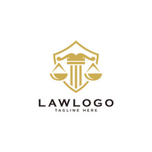 Law Symbol Logo, Scale Justice And Shield Vector Icon