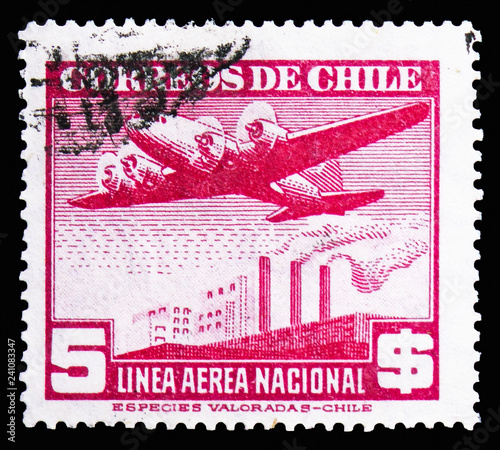 Photo  Chile, Air Mail Type 1941 red serie, circa 1942