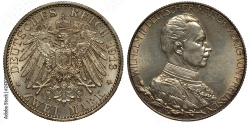 Fotografie, Obraz  Germany German Prussia Prussian silver coin 3 three mark 1913, crowned imperial