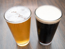 Two Pints Of Craft Beer Amber Ale Dark Stout