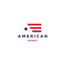 American Flag House Home Mortgage Logo Vector Icon