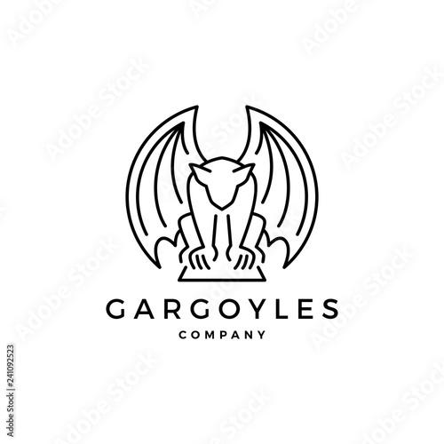 Obraz na plátne gargoyles gargoyle logo vector outline illustration