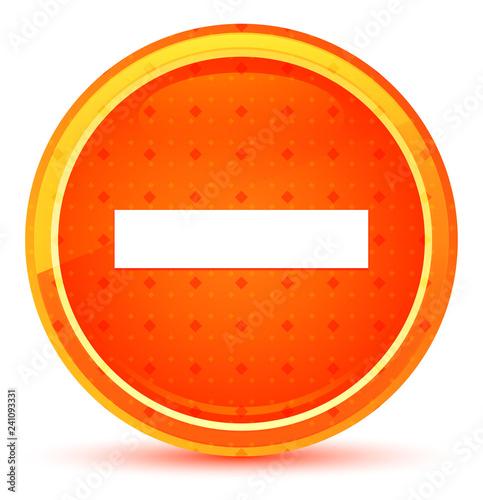 Fotografía  Minus icon natural orange round button