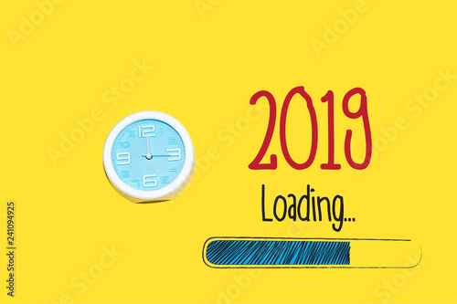 Fotografie, Obraz  Loading new year 2019 with clock showing nearly 12