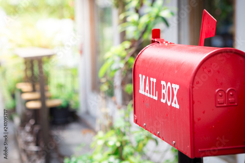 Fotografía Red mailbox in front of the house