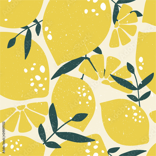Fresh lemons, leaves background. Hand drawn overlapping backdrop. Colorful wallpaper vector. Seamless pattern with citrus fruits collection. Decorative illustration, good for printing - 241097512