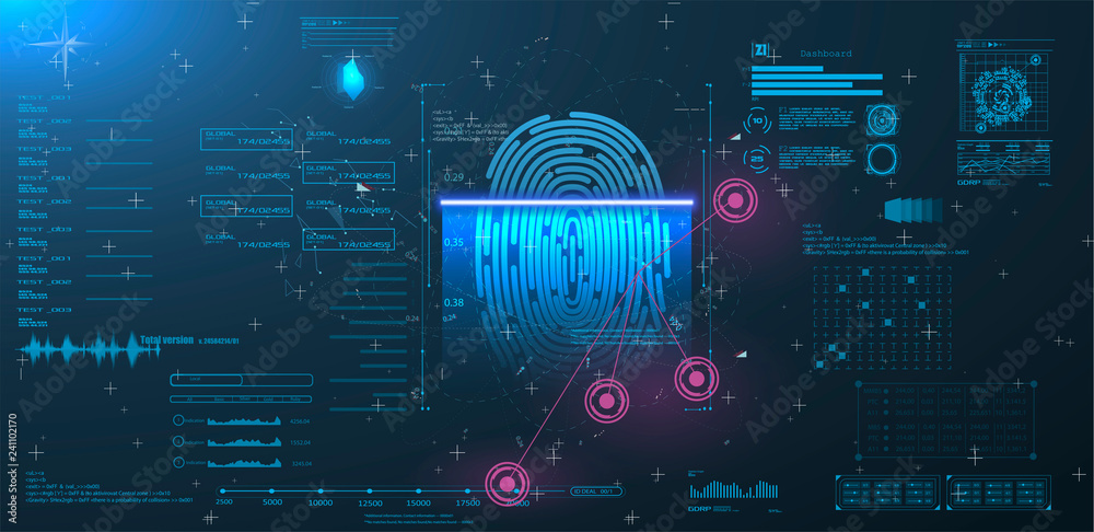 Fototapeta  Vector HUD Elements Set for Futuristic User Interface Abstract digital conceptual technology security interface background and finger print scanning