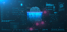 Vector HUD Elements Set For Futuristic User Interface Abstract Digital Conceptual Technology Security Interface Background And Finger Print Scanning
