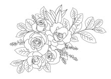 Adult Coloring Page With Roses And Leaves