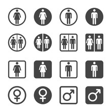 Man And Woman Icon Set,vector And Illustration