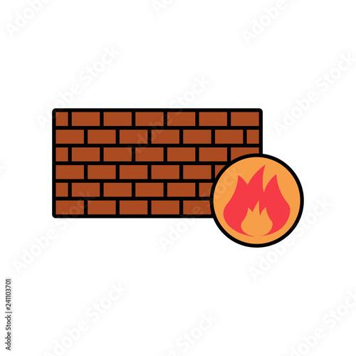 Fotografía  Firewall flat vector icon sign symbol