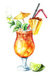 canvas print picture - Mai Tai Cocktail with Pineapple, mint, lime and Rum. Watercolor hand drawn illustration  isolated on white background