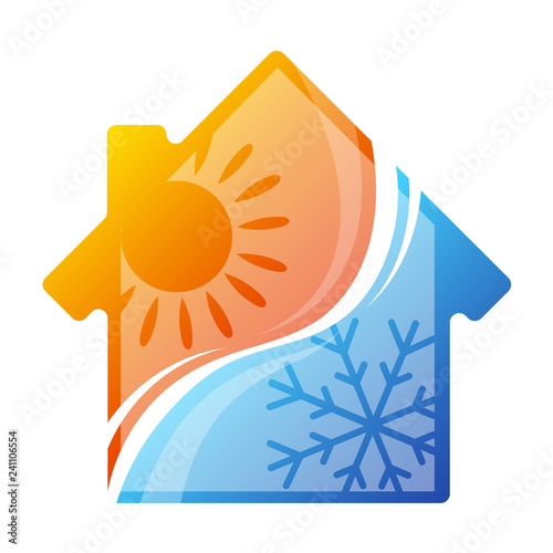 Stampa su Tela House air conditioner sun and snowflake