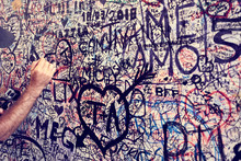 Wall Full Of Lovers Wishes At House Of Juliet Capulet In Verona In Italy / Writings On A Wall