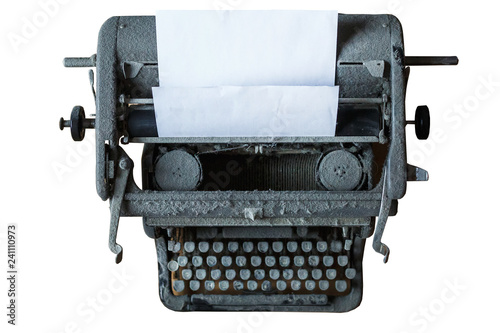 Fotobehang Retro old vintage dust-covered typewriter with sheet of paper isolated on white background