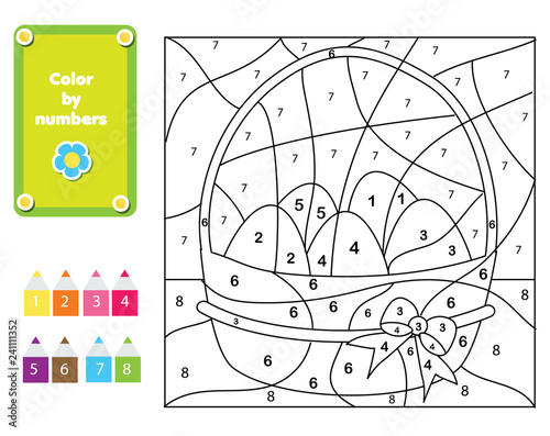Coloring page for kids. Educational children game. Color by numbers ...