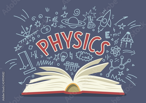 Fotografie, Obraz  Physics. Open book with doodles with lettering.