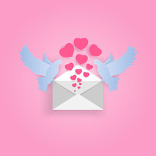 Pigeons Carry An Envelope From Which Fly A Lot Of Hearts