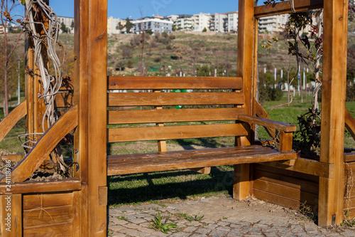 Stampa su Tela Garden arbour bench design detail