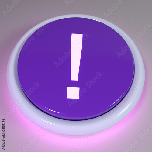Fotografie, Obraz  Purple push button, exclamation mark displayed on button - unknown outcome conce