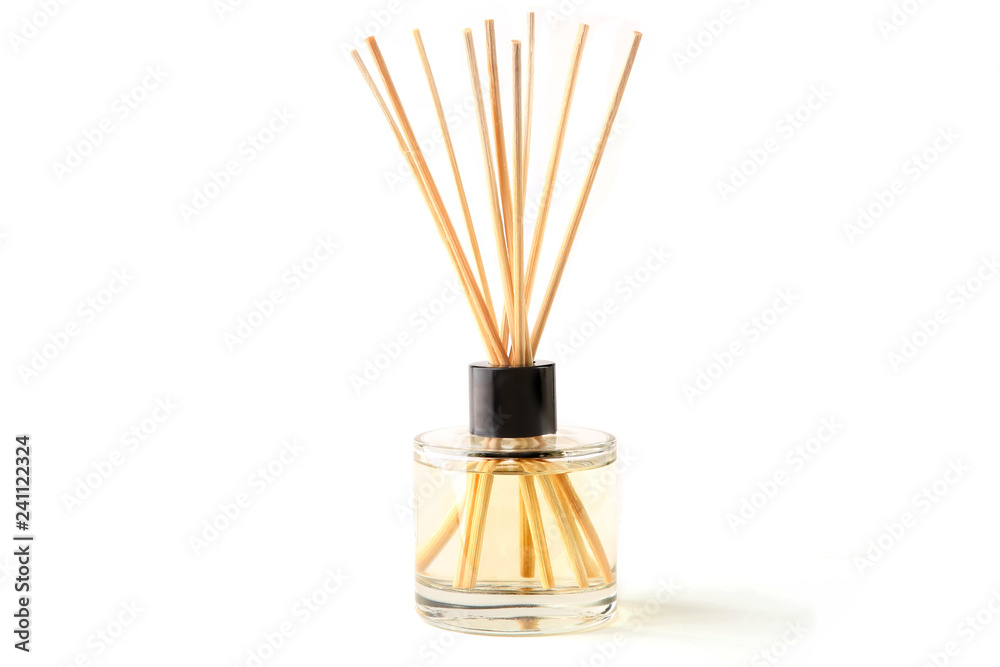 Fototapety, obrazy: Air refresher bottle and wooden sticks isolated over white background. Aromatic sticks for home.